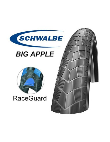 Schwalbe Big Apple 50-507 24x2,00 Svart Reflexrand