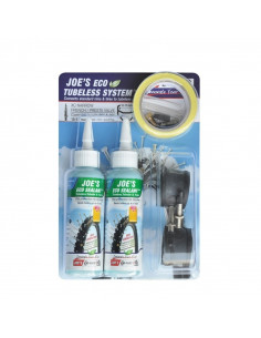 Tubeless Ready Kit JOE´S Eco Sealant, racerventil, 15-17mm fälgar