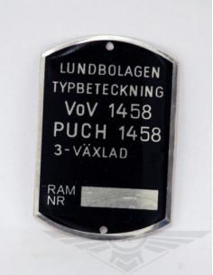 Typskylt VoV 1458 MC50